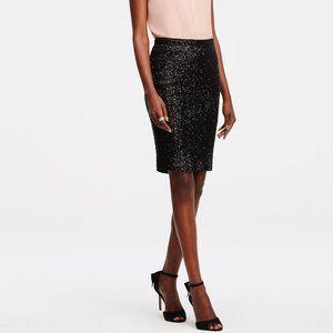 Ann Taylor Black Sequin Pencil Skirt